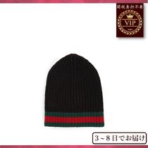 GUCCI(グッチ) ニットキャップ・ビーニー 国内発送料無料★Striped-edge ribbed-wool beanie hat