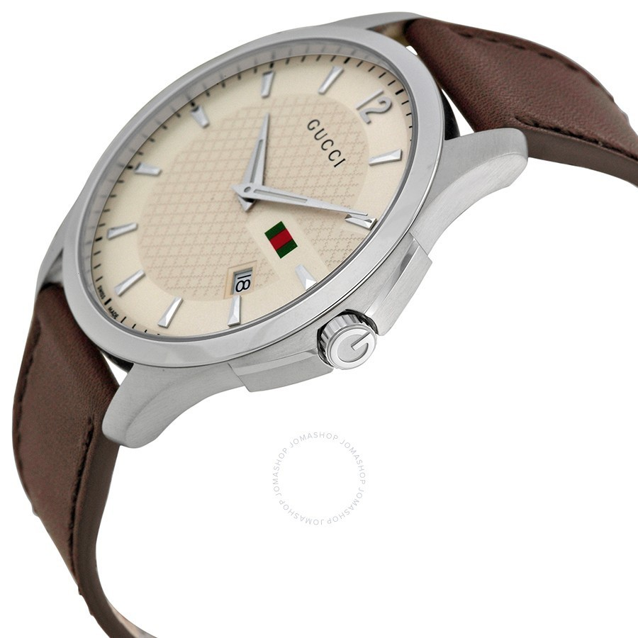 GUCCI G-Timeless Ivory Dial Brown Leather Strap Men's 腕時計