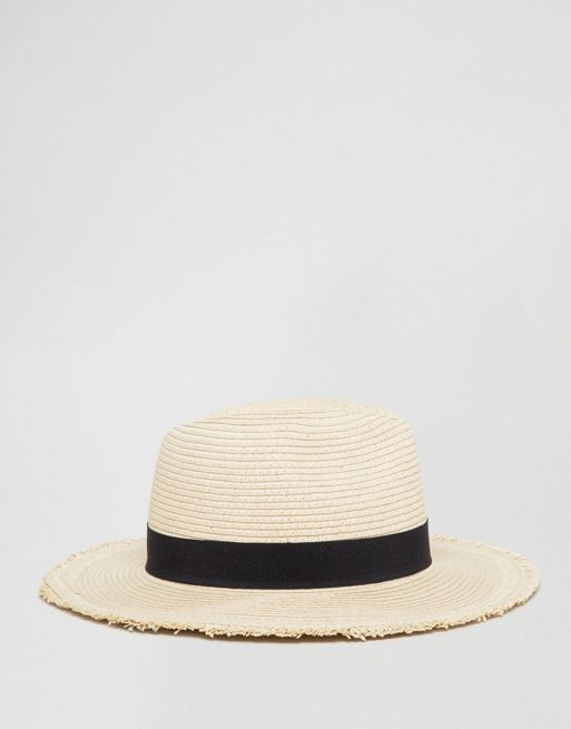 <送料関税込み>Straw Fedora Hat Wit ASOS ( エイソス ) 帽子