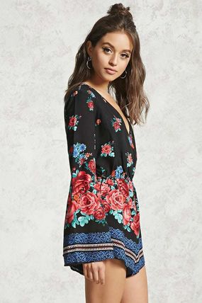 Forever21 オールインワン・サロペット Forever21 花柄 プリント ロンパース (2)