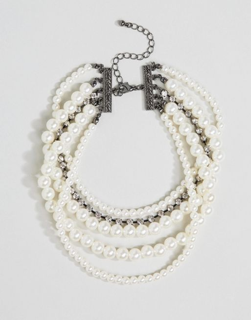 <送料関税込み>Occasion Faux Pearl & Jewel  ASOS ネックレス