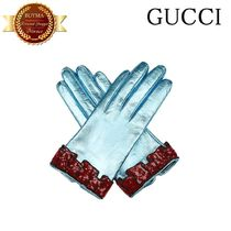 GUCCI(グッチ) 手袋 GUCCI グッチ Sequinned-cuff leather gloves