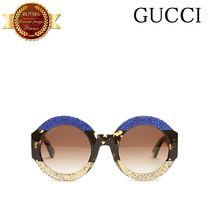 GUCCI グッチ Tri-colour round-frame sunglasses