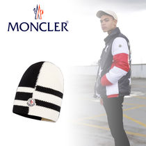 MONCLER(モンクレール) ニットキャップ・ビーニー 2017AW ◇ MONCLER ◇ CHAPEAU ウールキャップ/ブラックホワイト