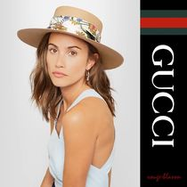 GUCCI(グッチ) ストローハット 【国内発送】GUCCI ハット Floral-printwoven paper hat