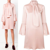 FE1606 BELL SLEEVE FLARE DRESS WITH SCALF
