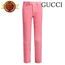 GUCCI(グッチ) スーツ GUCCI グッチ High-rise straight-leg leather trousers