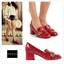 17-18AW◇GUCCI◇GG Marmont レザー ミッドヒールパンプス◇Red