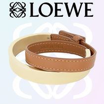 素敵♪2017新作【LOEWE】  Leather Double Bangle gold/tan