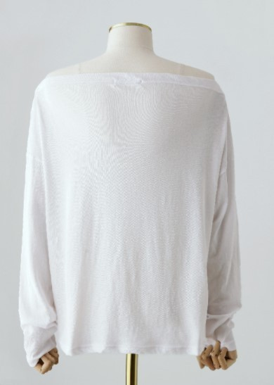 Off-Shoulder Long-Sleeved T-shirt 国内発送