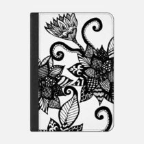 ★Casetify★iPadケース:BLACK AND WHITE TANGLE DRAWING FL