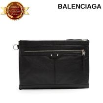 BALENCIAGA バレンシアガ Clip M leather pouch