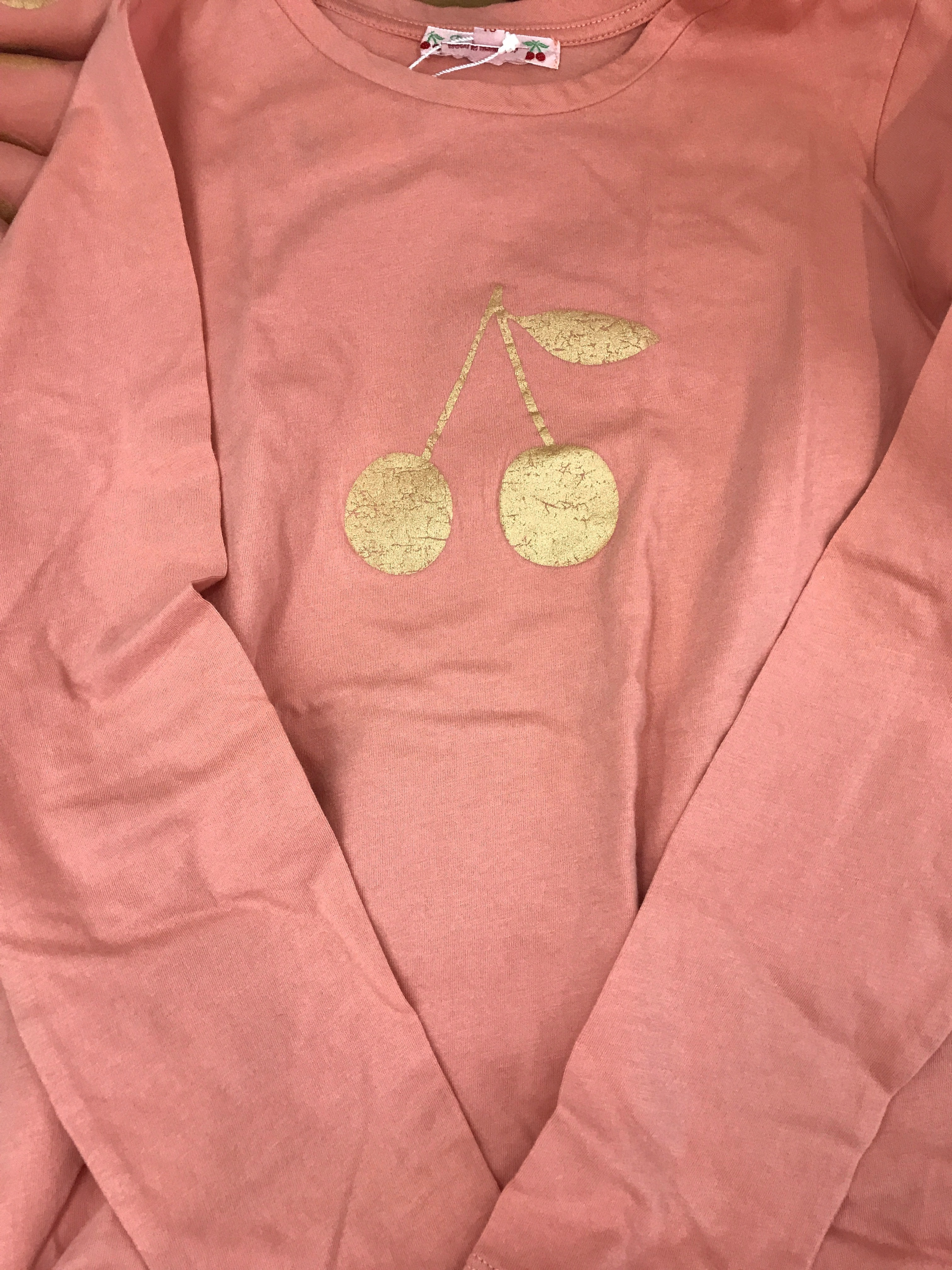 17AW【Bonpoint】チェリープリントTシャツ 8~12A (rose)