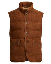 Quilted Suede-Down Vest
