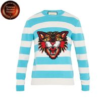 GUCCI(グッチ) ニット・セーター 【国内発・送関込】グッチ-Angry Cat-intarsia striped sweater