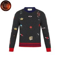 GUCCI(グッチ) ニット・セーター 【国内発・送関込】グッチ-Embroidered wool-knit sweater