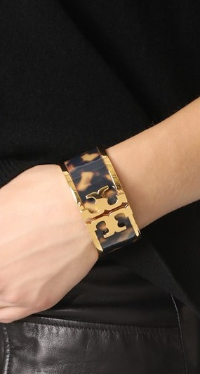 ☆Tory Burch☆Tortoise Raised Logo Wide Cuff Bracelet