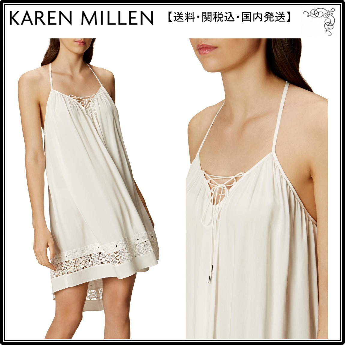 【UK発】Karen Millenワンピース☆Lace Up Strappy Summer Dress