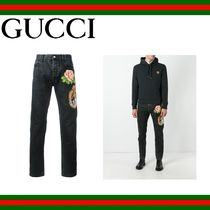 GUCCI(グッチ) cotton jeans パッチ装飾 テーパードジーンズ
