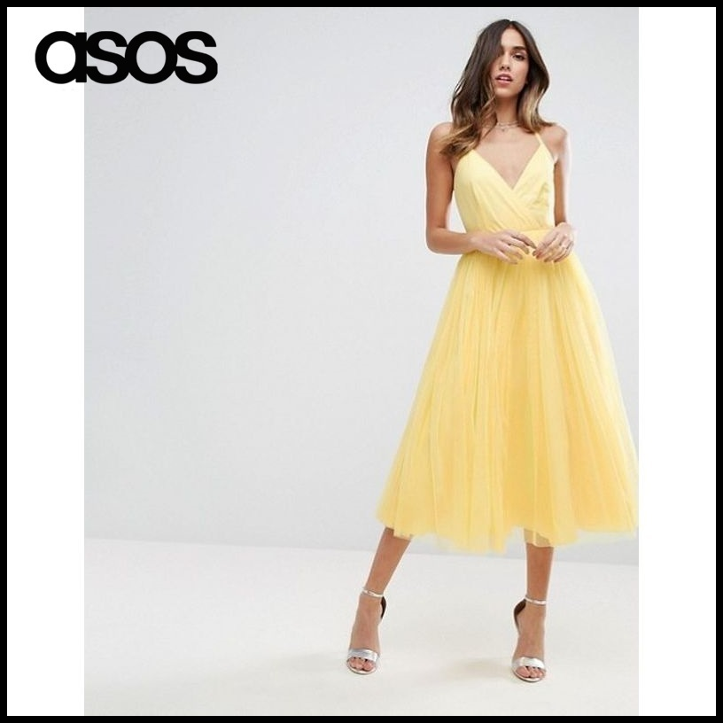 【ASOS(エイソス)】 Pinny Extreme Tulle Mesh Midi Dress
