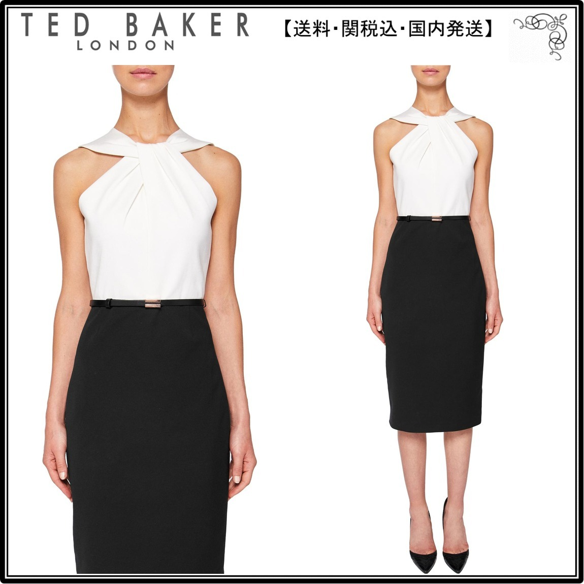 【UK発】TedBaker人気ワンピ☆Rayald Twist Neck Belted Pencil