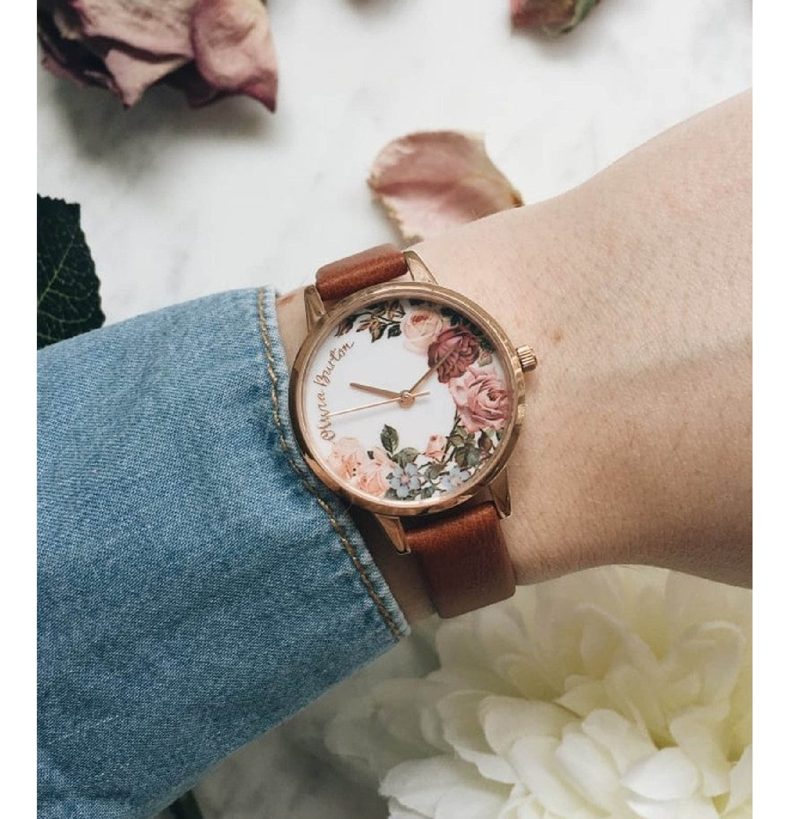 Olivia Burton★ English Garden Midi腕時計Tan & Rose Gold