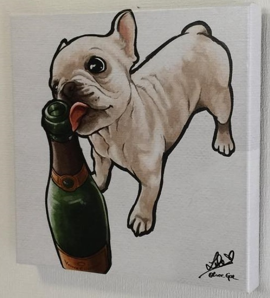 Oliver Gal★Frenchie and Bubbly★キャンバスアート 4サイズ