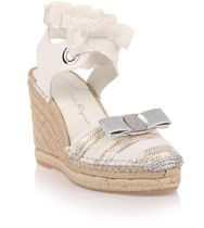 Eugenie 100 cream leather espadrille エスパドリーユウェッジ