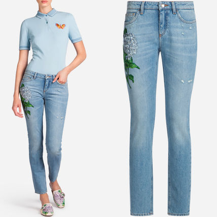 17-18AW DG1210 PRETTY FIT JEANS WITH ORTENSIA APPLIQUE