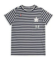 Moncler★2017SS新作★半袖ボーダーTシャツ★紺色★12/14A