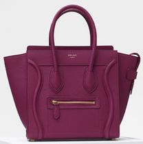 Micro Luggage Bag in Plum Baby Drummed Calfskin