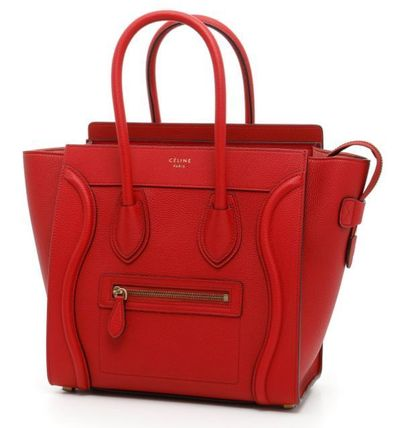 Micro Luggage Bag in Red Baby Drummed Calfskin