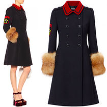 MM244 FOX FUR TRIMMED DOUBLE BREASTED COAT