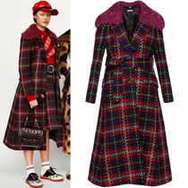 MM247 LOOK12 PLAID TWEED COAT WITH KNIT COLLAR