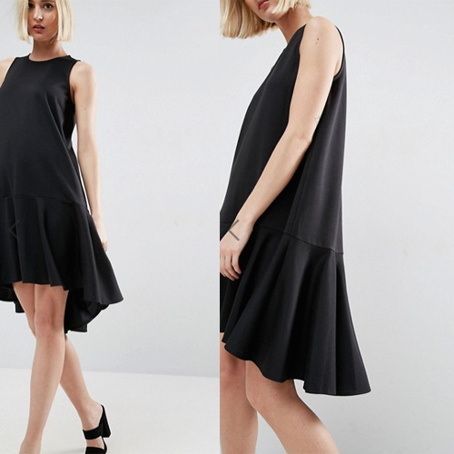 国内発送ASOS Shift Dress With Drop Frill Hem