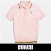 COACH★カシミア 半袖 ポロシャツ ピンク