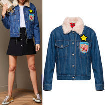 MM255 MOHAIR FUR TRIMMED DENIM JACKET WITH APPLIQUE