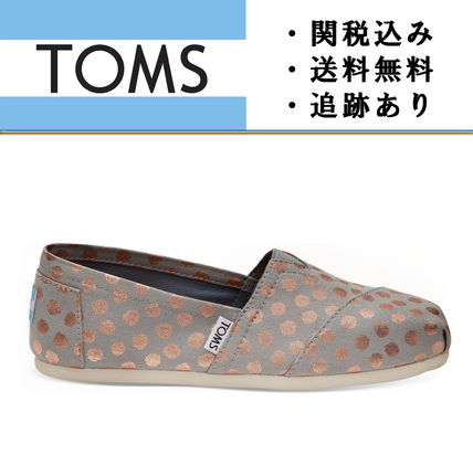 """TOMS""Drizzle Grey with Rose Gold Foil レディース スリッポン"