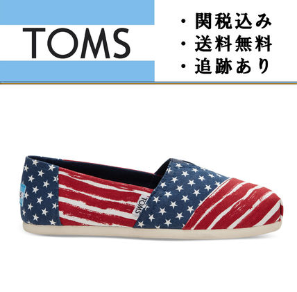 """TOMS""Red and Navy Americana Painted レディース スリッポン"