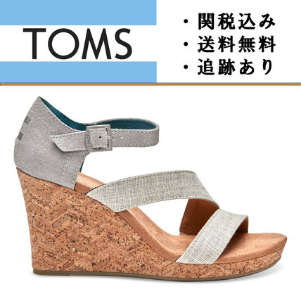 """TOMS""Grey and White Linen with Chevron レディース ウェッジ"