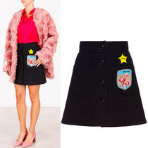 MM259 WOOL MINI SKIRT WITH APPLIQUE
