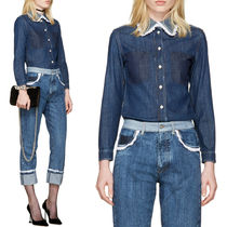 MM261 LACE TRIMMED DENIM SHIRT WITH FRAYED HEM