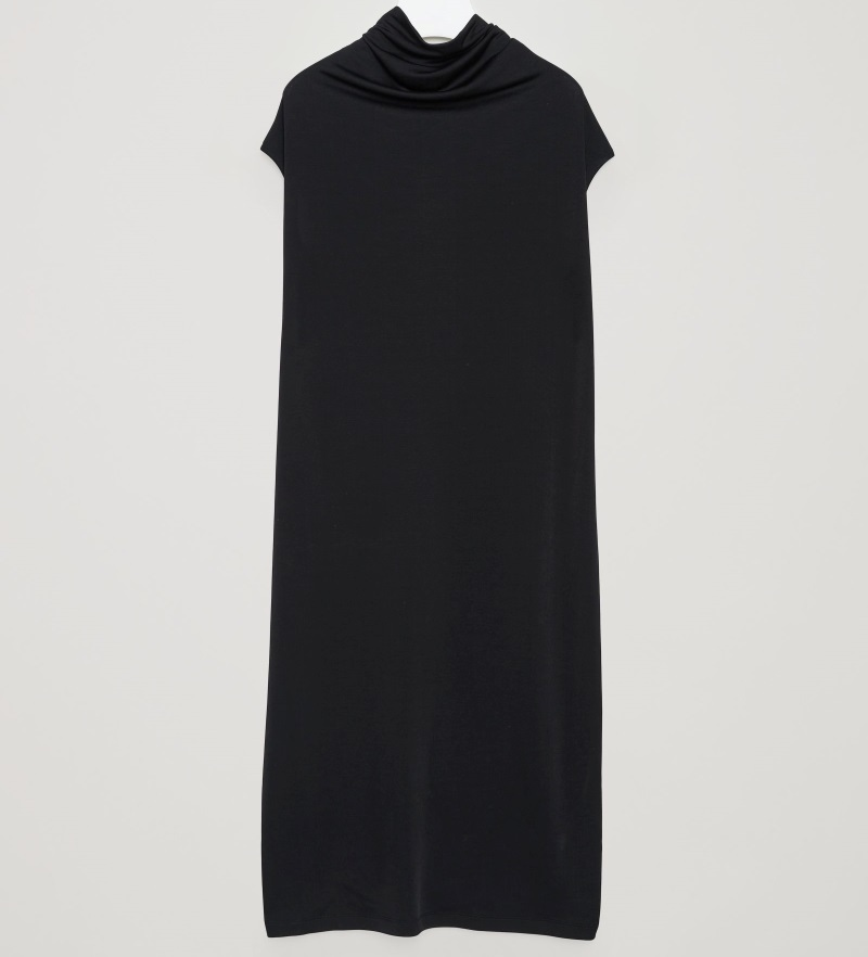 """COS""DRESS WITH DRAPED NECKLINE BLACK"