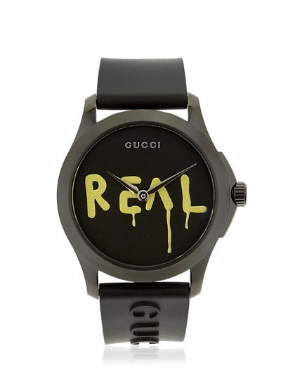 関税、送料込! GUCCI GHOST REAL G-TIMELESS RUBBER WATCH ☆黒