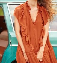 """""""& Other Stories""""Oversized Frill Dress Copper"""