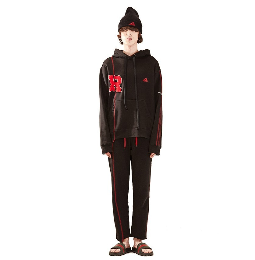 R patch stich hood homme-BK 国内発送★関税込