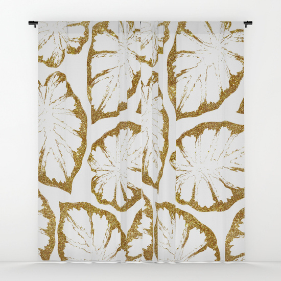 カーテン◆約127cm×約213cm◆Monstera Gold #society6 #decor
