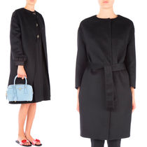 PR566 CASHGORA BLEND WOOL BELTED COAT