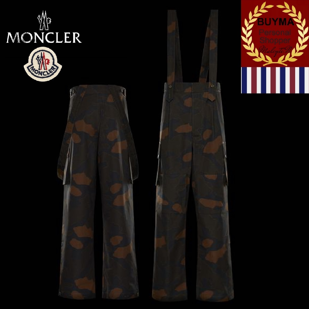 【MONCLER】CASUAL PANTS 迷彩柄 サスペンダー付きパンツ
