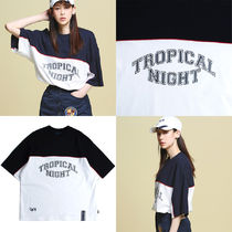 Tropical Night Wide T shirt_Navy ユニセックス 国内発